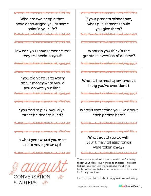 Conversation Starters  August