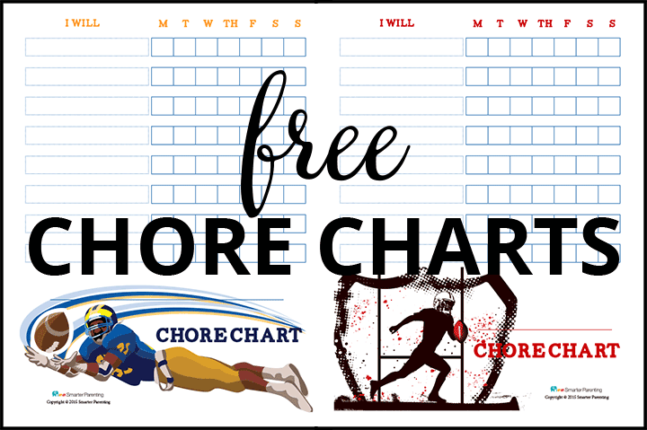Creating routine with free football chore charts