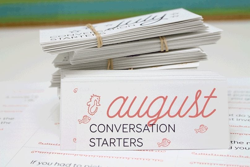Monthly conversation starters: August