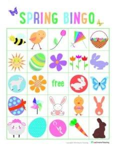 Spring bingo printable: A family activity